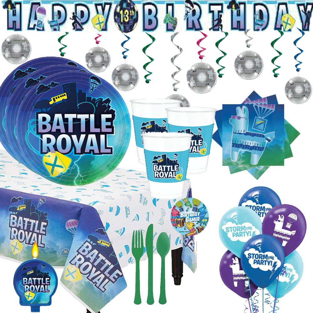 Battle Royal Video Game Birthday Party Supplies Pack For 16 With Plates, Cups, Small Napkins, Paper Tablecover, Swirls, Banner, Cutlery, Candle, Balloons, Add An Age Banner, and Exclusive Pin