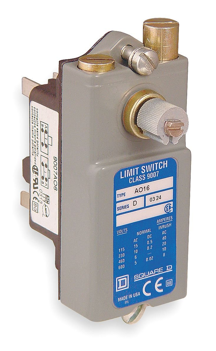 Square D by Schneider Electric 9007AO16 Snap Switch, Lever-Operated, Open Type, Plug-In, 1 NO + 1 NC, 600 VAC, 15 Amp by Square D by Schneider Electric B000CFVW32
