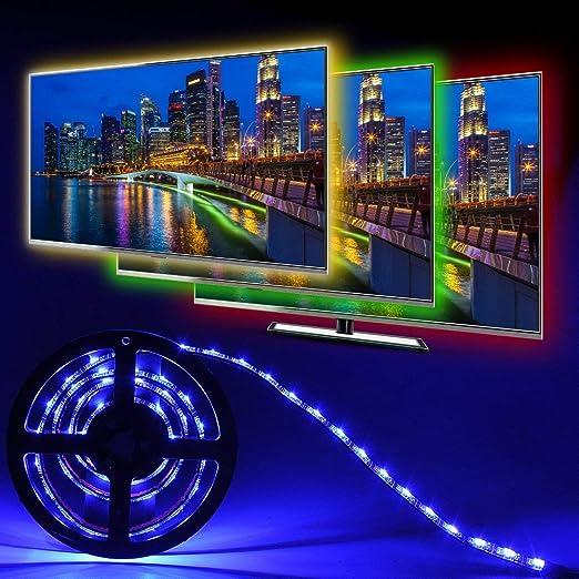 Iluminación posterior LED TV 1 m, kit de tiras LED para TV de 40-60 pulgadas, Simfonio RGB 5050 LED Strip con mando a distancia, USB Powered iluminación TV: Amazon.es: Iluminación