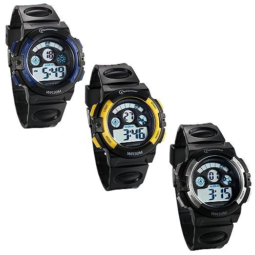 JewelryWe 3pcs Reloj Digital de Chicos Adolescentes Reloj Militar Deportivo Grande Correa de PVC A Prueba