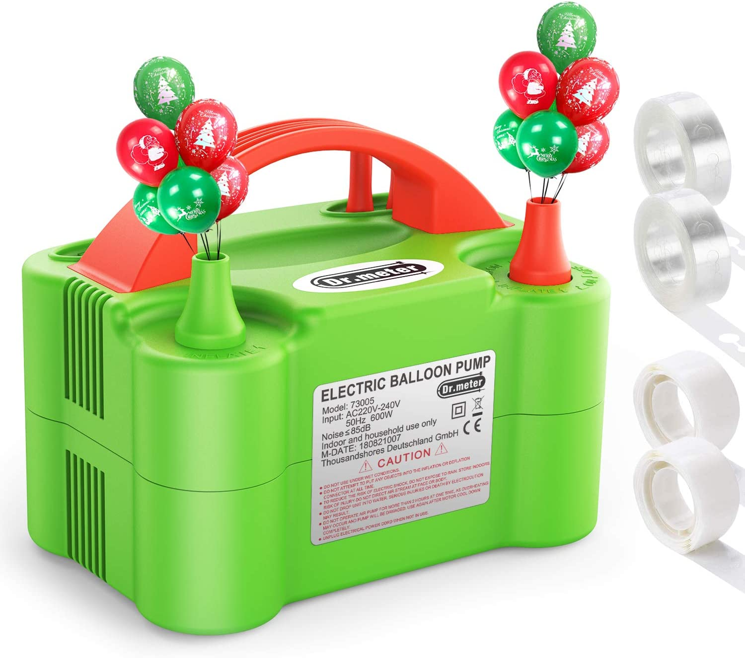 Dr.meter Balloon Pump, 110V 600W Portable Christmas Decorations Electric Air Balloons Pump with Dual Nozzle Blower/Inflator for Party Decoration/Halloween/Wedding/Birthday/Sport/Christmas, Green: Home & Kitchen