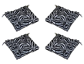 Set Of 4   Indoor / Outdoor Black U0026 White Zebra Print Universal Tufted Seat  Cushions