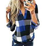 Dokotoo Womens Basic Casual V Neck Plaid Print Cuffed Long Sleeve Work Tops Blouses Shirts S-5XL