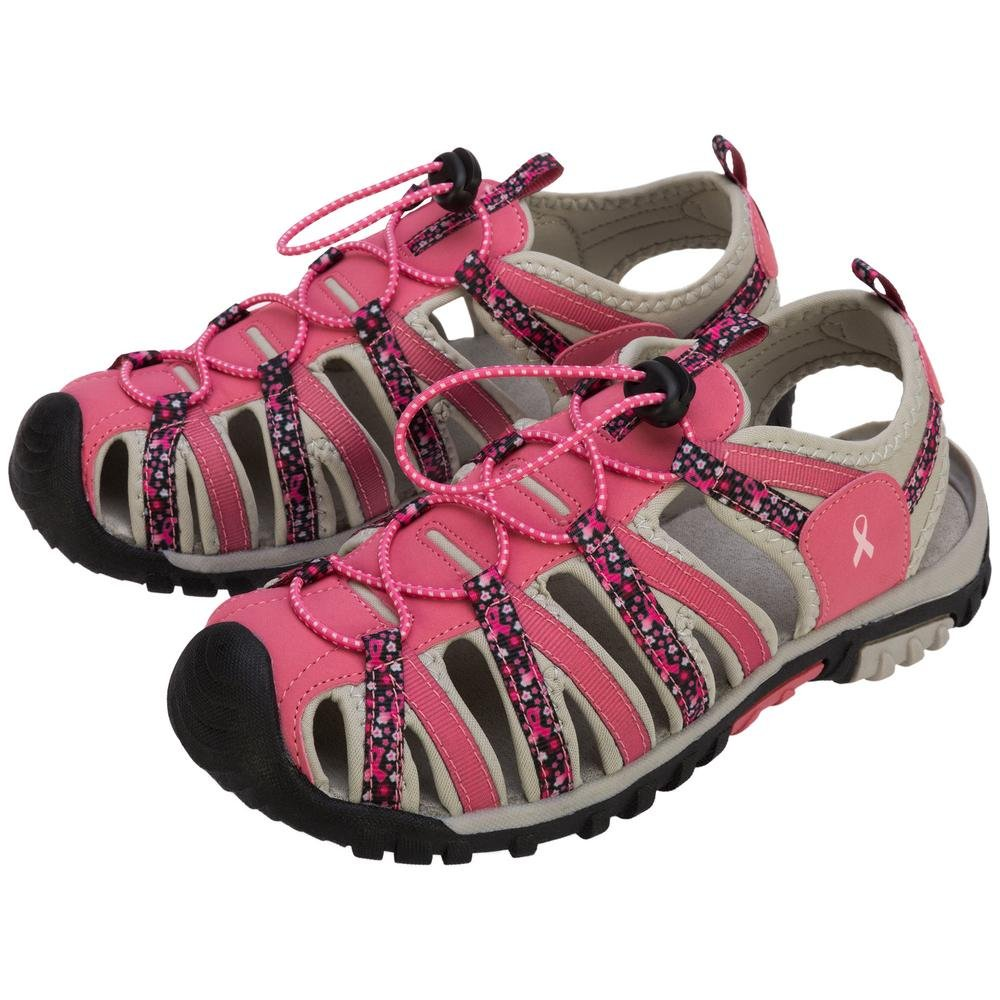 GreaterGood Path to Pink Sport Sandals (12, Black Floral)