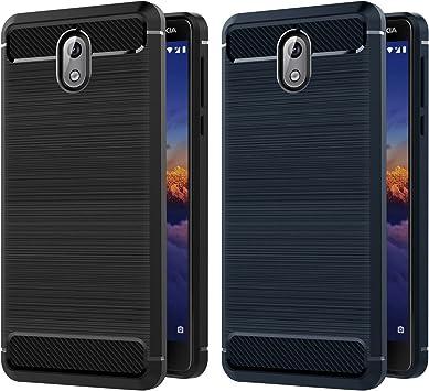 ivoler [2 Unidades] Funda para Nokia 3.1 / Nokia 3 2018, Diseño de Fibra de Carbon Ultra Fina TPU Silicona Carcasa Fundas Protectora con Shock- Absorción (Negro+Azul): Amazon.es: Electrónica