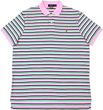 Men's Clothing Mens Ralph Lauren Pink And Blue Striped Polo Shirt Size L 100% Cotton