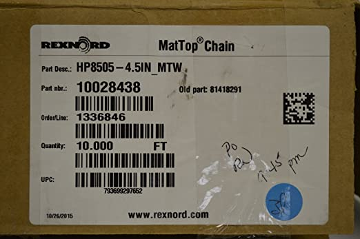 """MR4705-42 42/"""" x 60/"""" Black Melt Resistant NEW Details about  /Rexnord Matop Chain"""