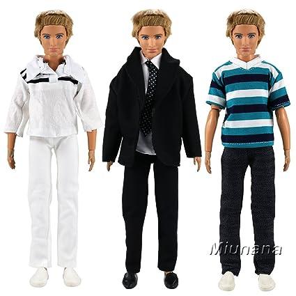 a4e9dd69d0a5ac Miunana 3 Set Fashionistas Tops und Hosen Kleid Kleidung Kleider für Barbie  Puppen KEN Geschenk  Amazon.de  Spielzeug