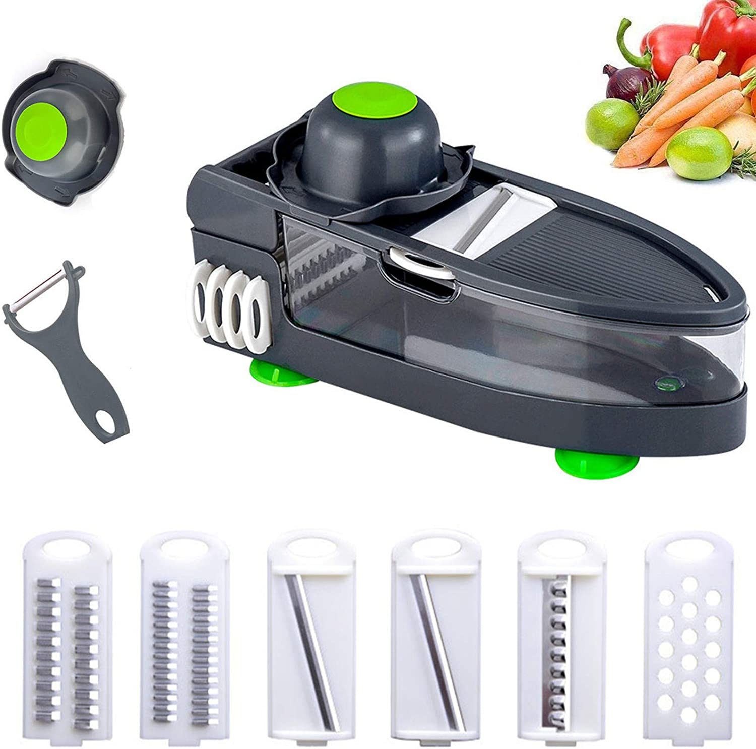 9 in 1Multifunctional vegetable cuttr,Slicing Tool, with 6 Interchangeable Blades & Safety Holder, Manual Food Chopper Slicers for Fruits and Vegetables (9 in 1)