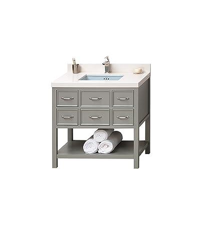 Strange Ronbow Newcastle 36 Inch Bathroom Vanity Set In Ocean Gray Download Free Architecture Designs Grimeyleaguecom