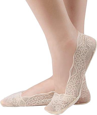 4 Pairs Women Lace Cotton No Show Liner
