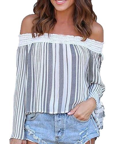 Auxo - Camisas - cuello barco - Manga Larga - para mujer