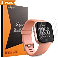 [4 PCS]Screen Protector for Fitbit Versa,PEMOTech 9H Tempered Glass Screen Protector for Fitbit Versa Smartwatch 2018 [Crystal Clear] [Anti-Scratch] [No-Bubble]