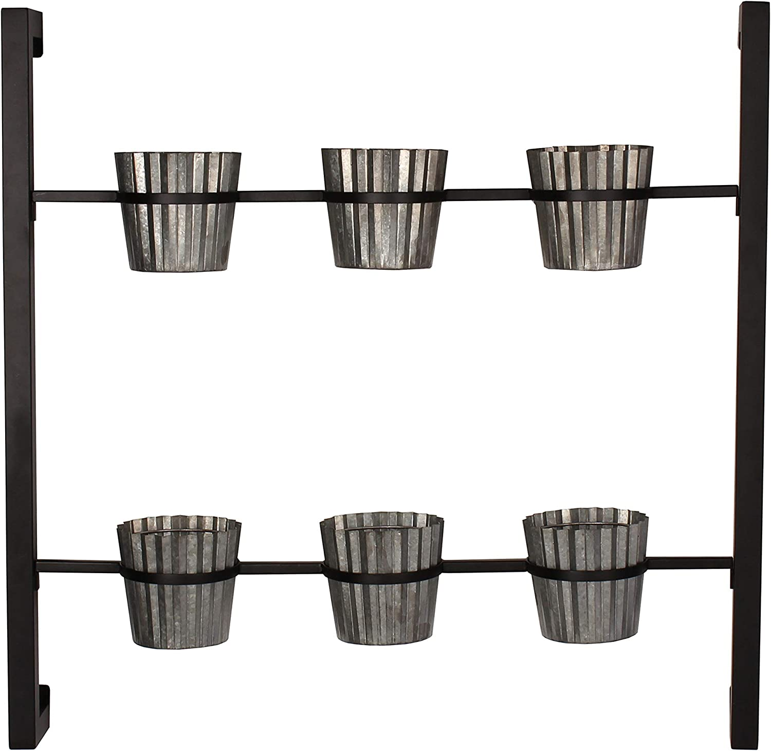 Kate and Laurel Groves Indoor Vertical Herb Garden Hanging 6 Pot Wall Planter, Black