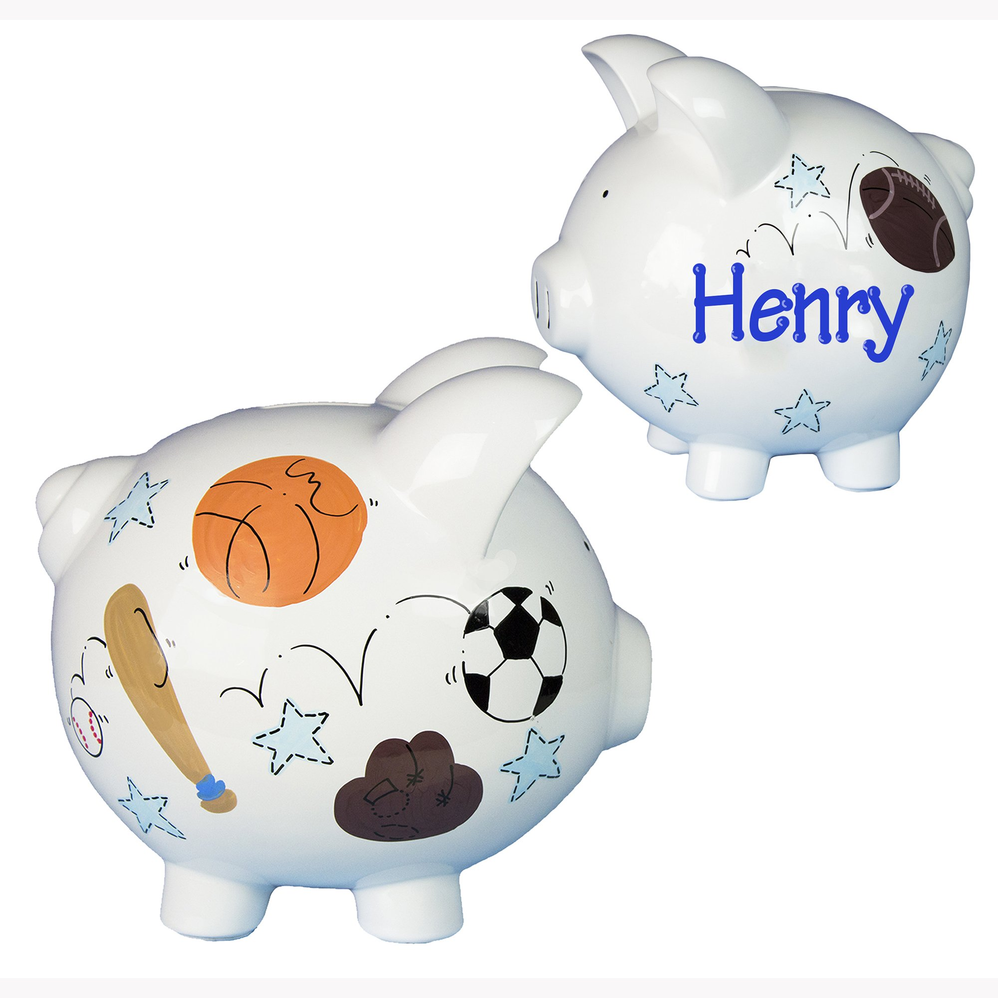 Personalized Sports Piggy Bank Hand Painted Large White Ceramic Piggybank by My Bambino - Soccer Football Basketball Baseball