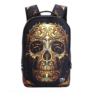 Mochila ultraliviana ideal para usar en el colegio, la universidad y para viajes gold skull: Amazon.es: Equipaje