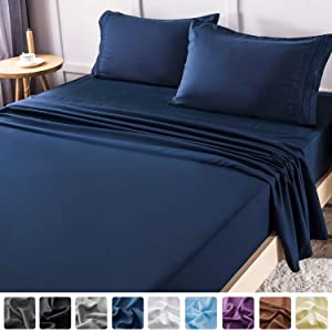 LIANLAM Queen Bed Sheets Set - Super Soft Brushed Microfiber 1800 Thread Count - Breathable Luxury Egyptian Sheets 16-Inch Deep Pocket - Wrinkle and Hypoallergenic-4 Piece(Queen, Navy Blue)