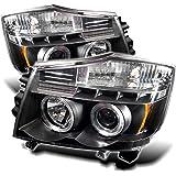 Spyder Auto Nissan Titan/Nissan Armada Black Halogen LED Projector Headlight