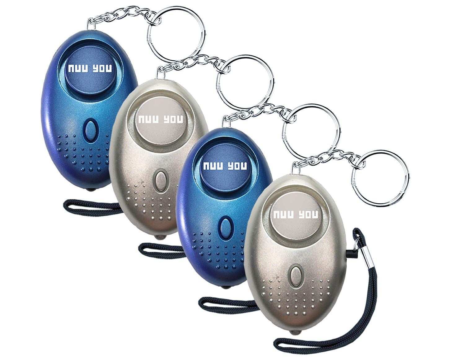 NuuYou Personal Alarms for Woman Siren 140 DB with LED Light Emergency Safety Sound Alarm Keychain for Personal Alarm Women/Kids/Girls/Elderly Self Defense Device Policeman Recommend (Silver&Blue) by Nuu You