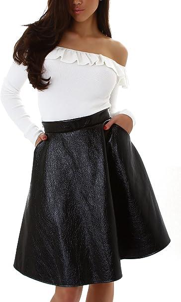 Voyelles Falda Mujer Look de Cuero Wet Look Falda de Cintura Alta ...