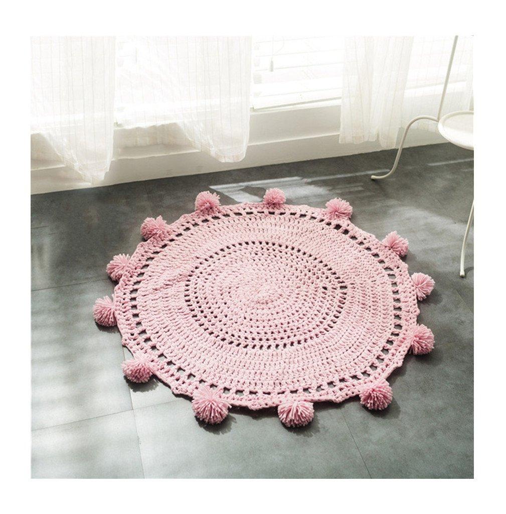 Playmat Handmade Round Rugs Kids in Fun Designs Crochet Blanket Area Rugs Kids Room Decorate Carpets Game Carpet 31.2 in (pink)