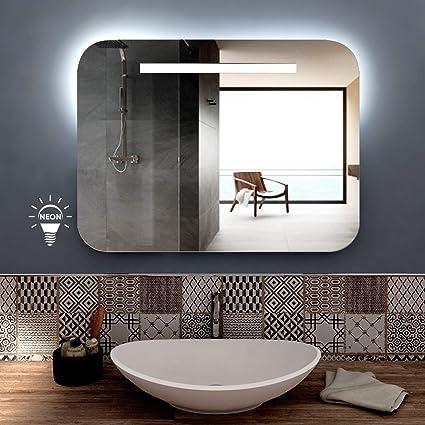 Specchio Parete Retroilluminato Made in Italy con Lampada Neon 13 W styleglass Specchio da Bagno Rettangolare Ariel 80 x 60 cm Grado di Protezione IP20 Kit Fissaggio Murale Incluso