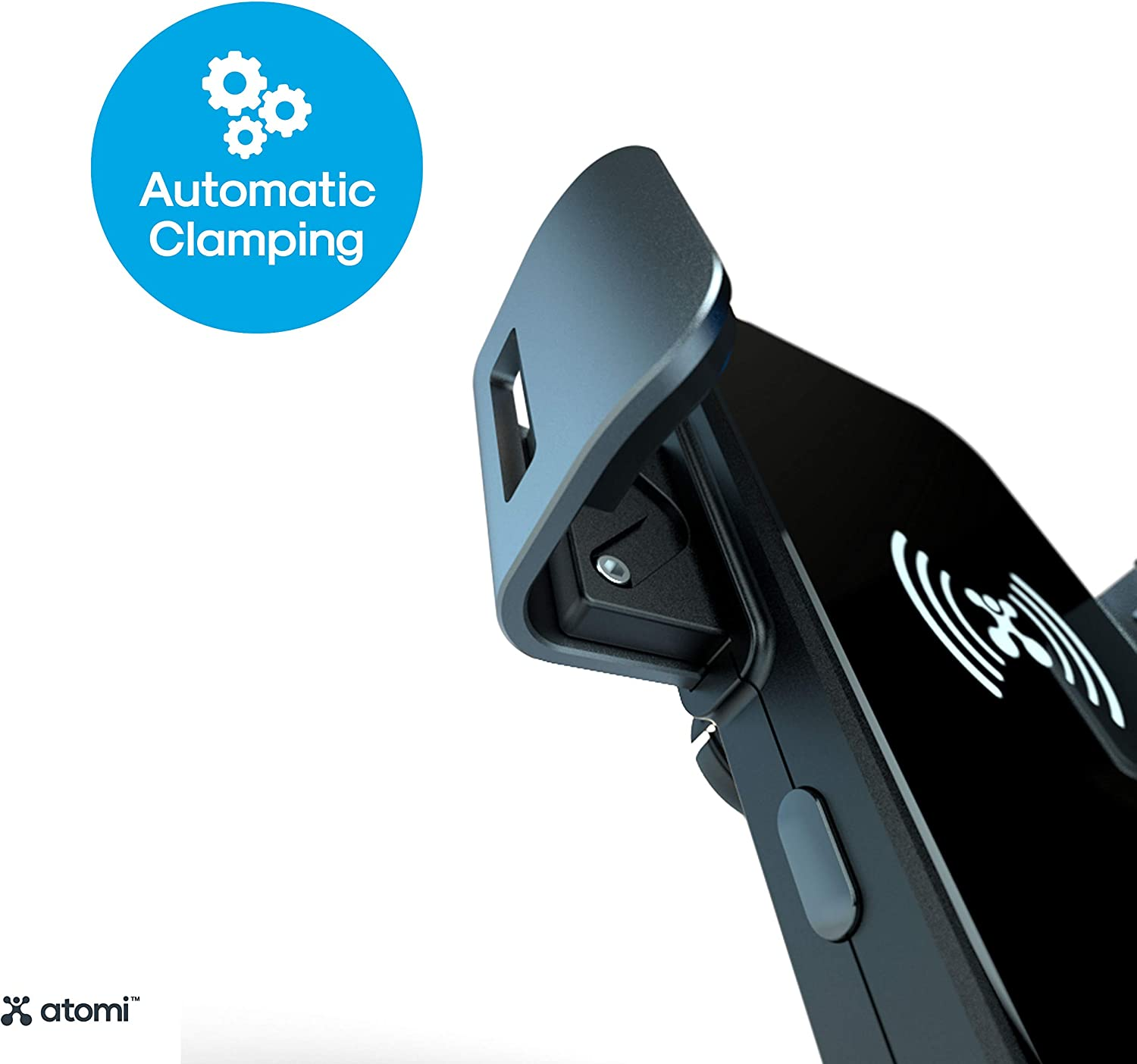 360/° Rotation Qualcomm Quick Charge 3.0 Atomi Qi Wireless Car Charger with 3-Way Mount Motorized Clamping Black Hands-Free Phone Mount