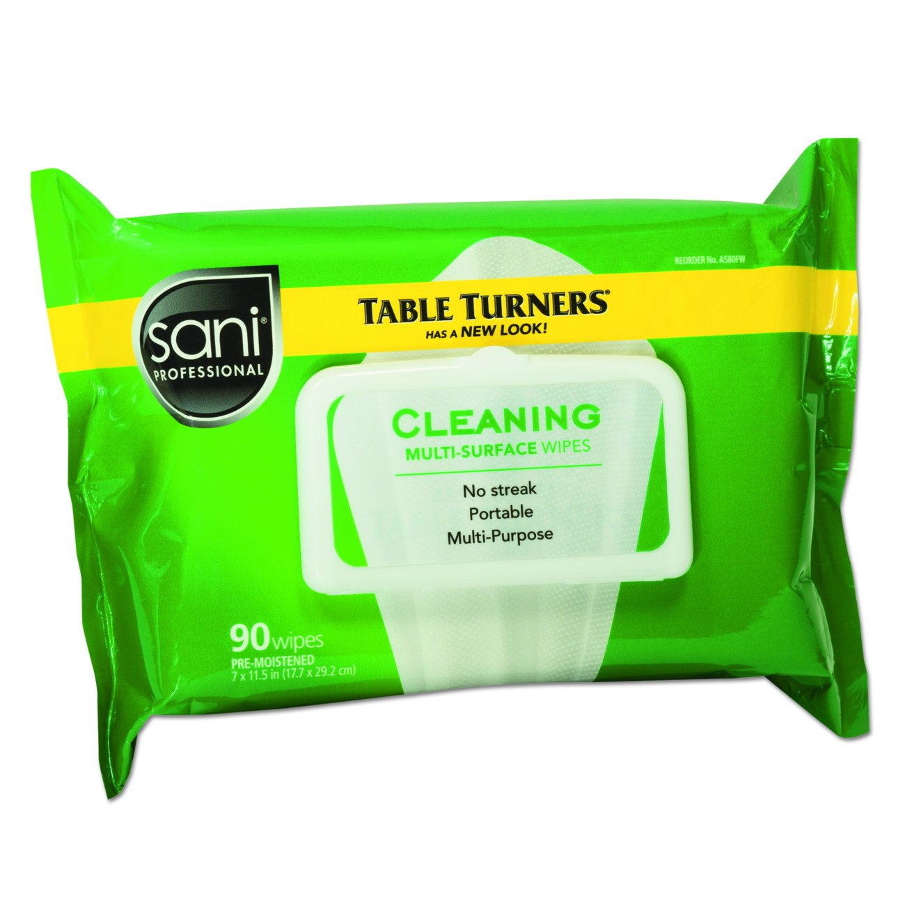 Sani Professional NIC A580FW Table Turner Wet Wipe, 11-1/2 Width, 7' Length, Paper, White, Pack of 1080, 11' Height, 8.25' Width, Paper, (Pack of 1080) 7 Length 11 Height 8.25 Width