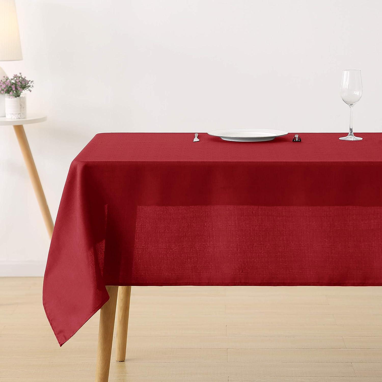 Deconovo Leinenoptik Tischdecke Wasserabweisend Tischwäsche Lotuseffekt 132x178 cm Beige