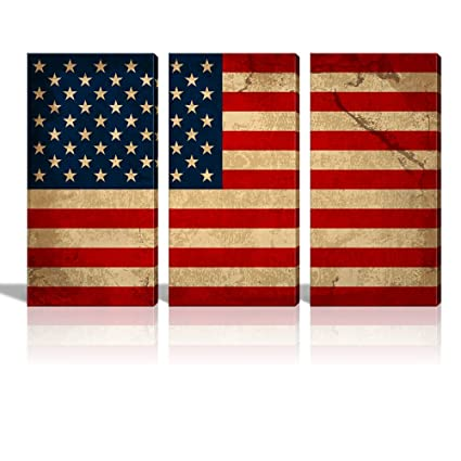 Wall26 - Canvas Prints Wall Art - 3 Panel Vintage American Flag / USA Flag /