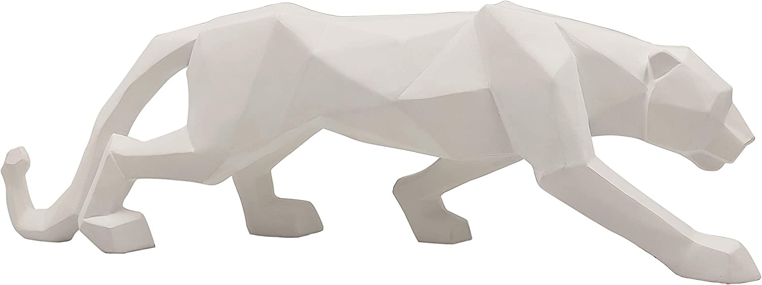 LOOYAR Geometric Resin Leopard Statue Sculpture Ornament Collectible Figurine Craft Furnishing for Home Décor House Living Room Decoration Office Desk Table Wine Cabinet Arrangement Gift, White