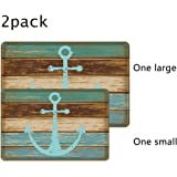 """Uphome Vintage Retro Nautical Anchor Flannel Microfiber Bathroom Shower Accent Rug - Turquoise and Brown Non-slip Soft Absorbent Bathroom Kitchen Floor Mat Carpet (1 pc16""""W x 24""""L & 1 pc 20""""W x 31""""L)"""