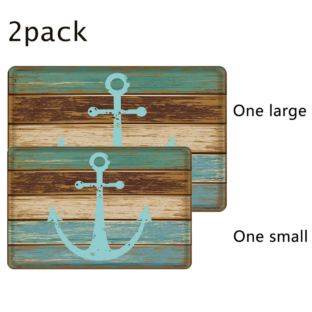 Nautical Anchor Bathroom Rug, Uphome Vintage Retro Flannel Microfiber Turquoise and Brown Non-slip Soft Absorbent Bath Rug Kitchen Floor Mat Carpet (1 pc16''W x 24''L & 1 pc 20''W x 31''L)