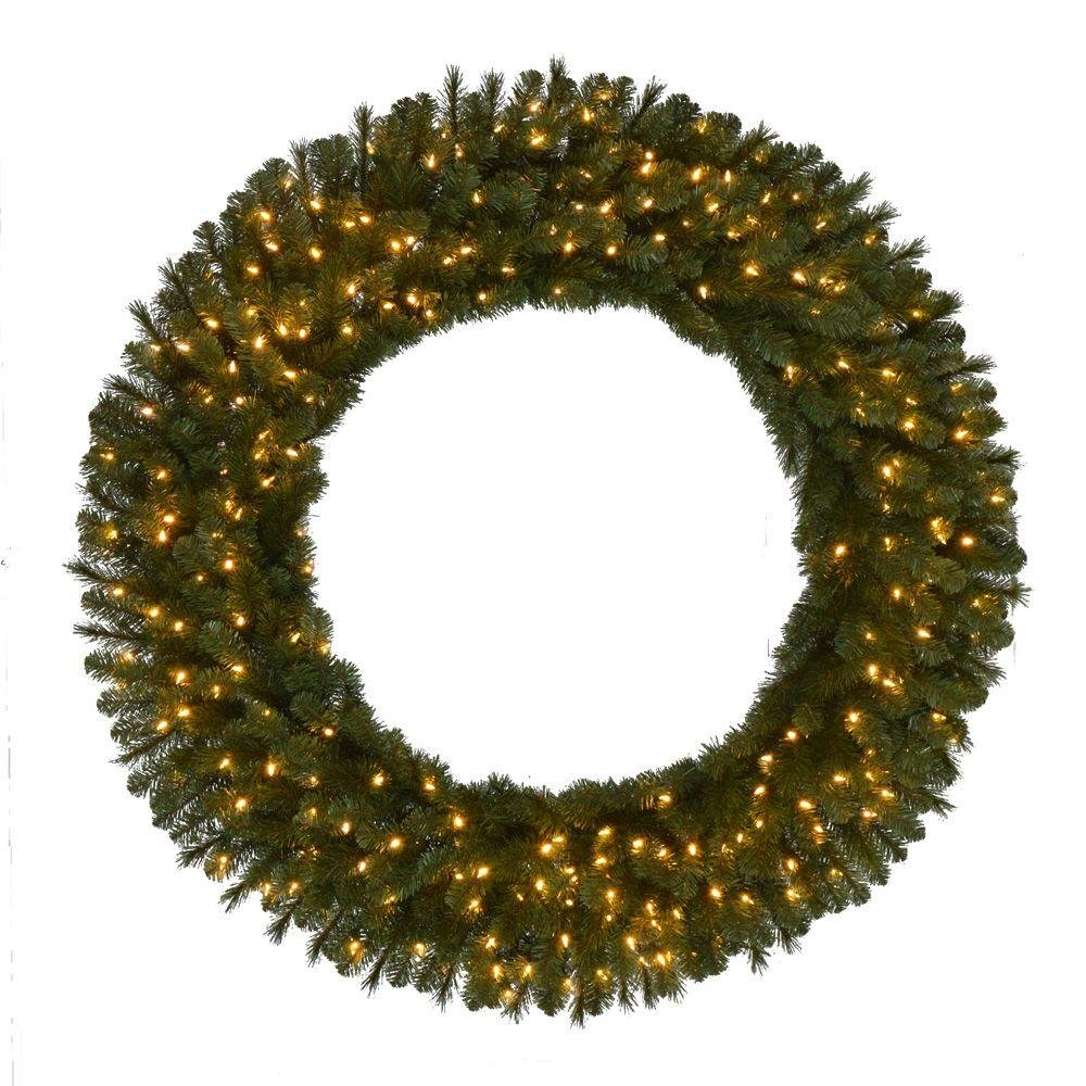 60 in. Pre-Lit LED Wesley Pine Artificial Christmas Wreath x 498 Tips, 240 UL Plug-In
