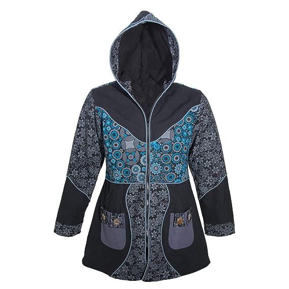 606edd7e2542 Kunst und Magie Damenmantel mit Kapuze Blumenmuster Jacke Baumwolle   Amazon.de  Bekleidung