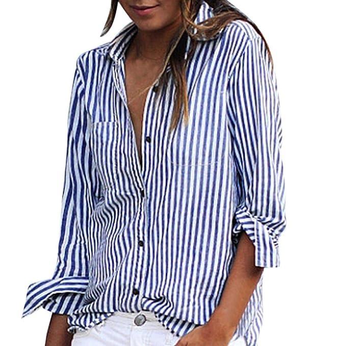 3f579c4c Anglewolf Fashon Women Shirts, Spring Summer Striped Long Sleeve Loose Shirts  Blouses Casual Turn-Down Collar T-Shirts Ladies Stylish Stripes Printed Tops  ...