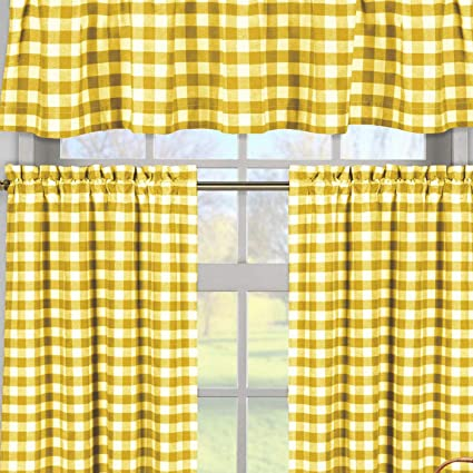 2 29 x 36 /& One 58 x 15 Home Maison Kingston Plaid Gingham Checkered Cotton Blend Kitchen 3 Piece Window Curtain Tier /& Valance Set Orange