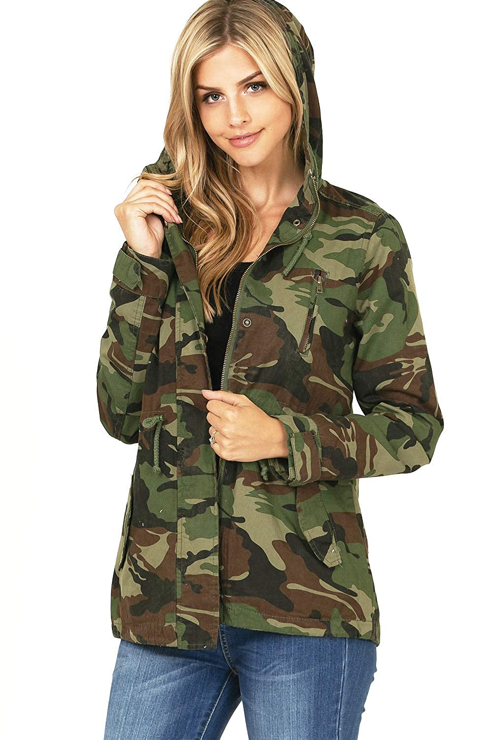 Camouflage Ambiance Women's Juniors Camouflage Army Print Utility Cargo Jacket