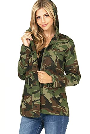 9316471999b19 Amazon.com: Ambiance Women's Juniors Camouflage Army Print Utility Cargo  Jacket: Clothing