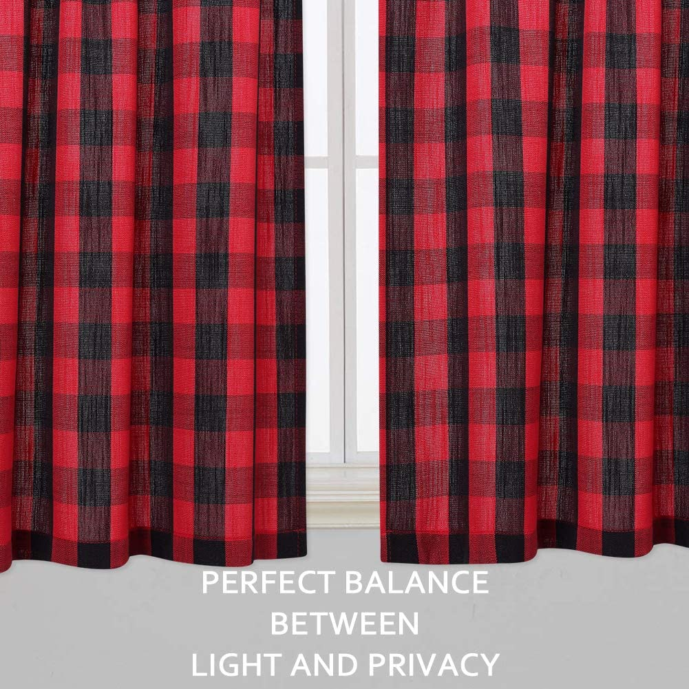 Black and White 42x63 Inches Buffalo Check Plaid Gingham Farmhouse Rod Pocket Adjustable Tie Up Shades for Kitchen Cafe Curtains CAROMIO Tie Up Curtains for Kitchen Windows