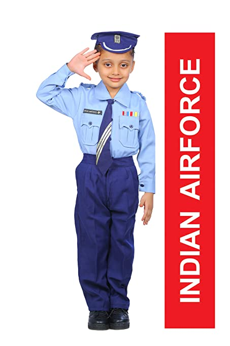 IndiaDressWala IAF   Indian Airforce   Pilot   Community Helper Kids Fancy  Dress Uniform with Elastic Band (1-2 Years)