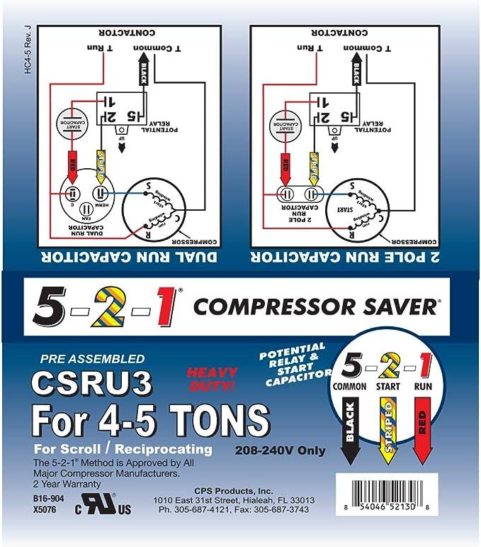 5-2-1 CSRU2 Compressor Saver for 3/12 to 5 Ton Units - - Amazon.com | Hvac Hard Start Kit Wiring Diagram |  | Amazon.com