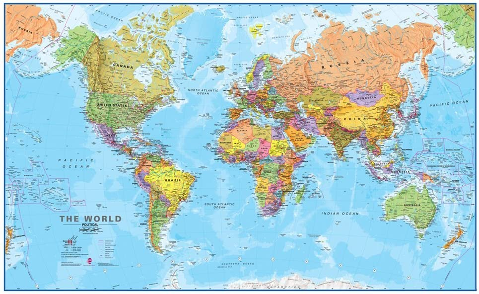 Front Laminated 48x78 Huge World Classic Elite Wall Map