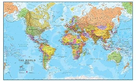 Amazon giant world megamap large wall map paper with front giant world megamap large wall map paper with front sheet lamination 7795 x gumiabroncs Choice Image