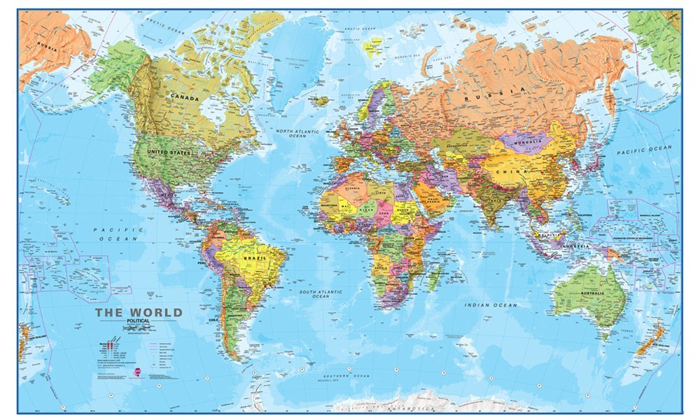 Giant World MegaMap - Large Wall Map Poster - Paper with front sheet lamination - 77.95 x 48.03 inches