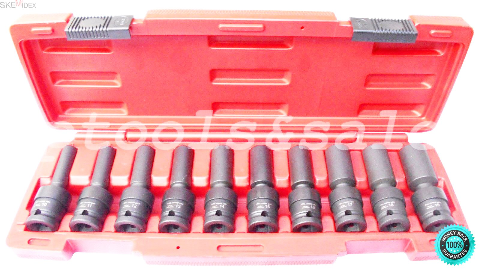 SKEMiDEX---20Pcs 1/2'' Drive Universal Swivel Deep Impact Socket Sets METRIC/SAE PRO Radius. Chrome Molybdenum Alloy Steel (CR-MO) For Exceptional Strength and Durability