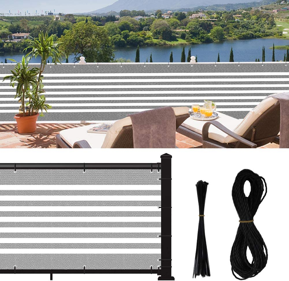 Jepeux Balcony Privacy Screen, for Apartment Railing, Low Garden Fence, Deck Patio Etc. New-Stripes, 3x16.4Ft Privacy Fence, with 30zip-Ties & 39.4ft Rope