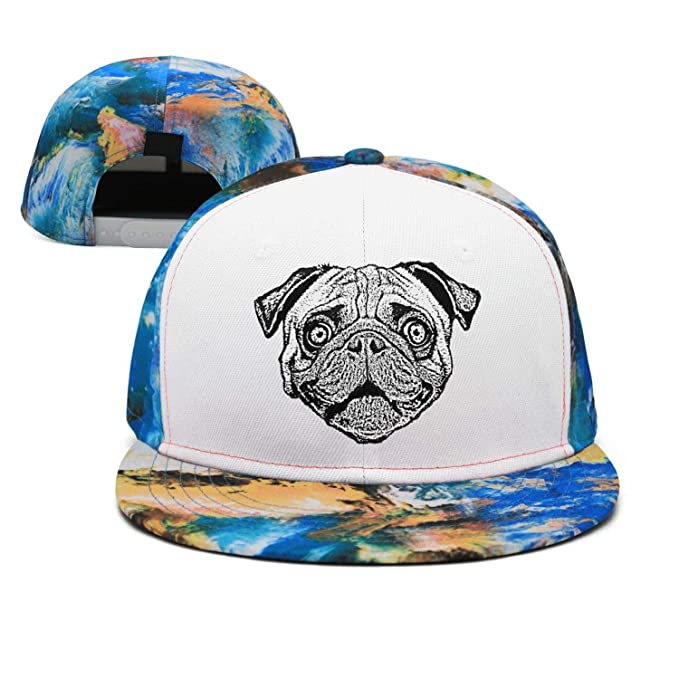 Vintage Snapback Hats >> Man Vintage Pug Dog Head Baseball Cap Snapback Hats At Amazon Men S