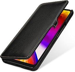 StilGut Book Type, Housse en Cuir pour LG G7 ThinQ. Etui de Protection en Cuir véritable pour LG G7 ThinQ à Ouverture latérale, Noir avec Clip