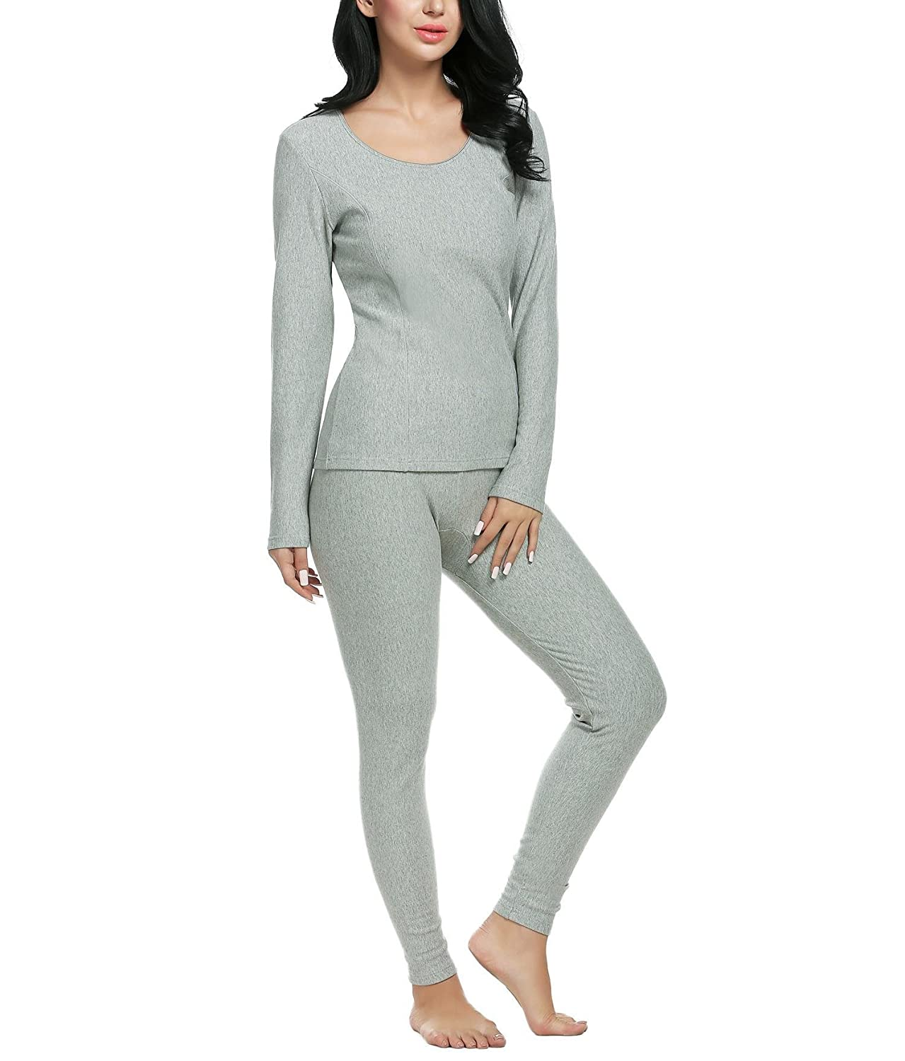 Opino Women's Thermal Underwear Set Top & Bottom Smooth Knit Winter Base Layering Set